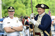 Middletown Police Chief Joe Bartorilla, left, shares a laugh with Gen. George Washington, portrayed by John Godzieba during the Middletown Township 4th of July Independence Day Parade Monday July 4, 2016 in Middletown Township, Pennsylvania. (Photo by William Thomas Cain)