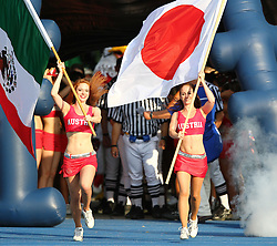15.07.2011, Ernst Happel Stadion, Wien, AUT, American Football WM 2011, Japan (JAP) vs Mexico (MEX), im Bild cheerleader with mexican and japanese flags // during the American Football World Championship 2011 game, Japan vs Mexico, at Ernst Happel Stadion, Wien, 2011-07-15, EXPA Pictures © 2011, PhotoCredit: EXPA/ T. Haumer