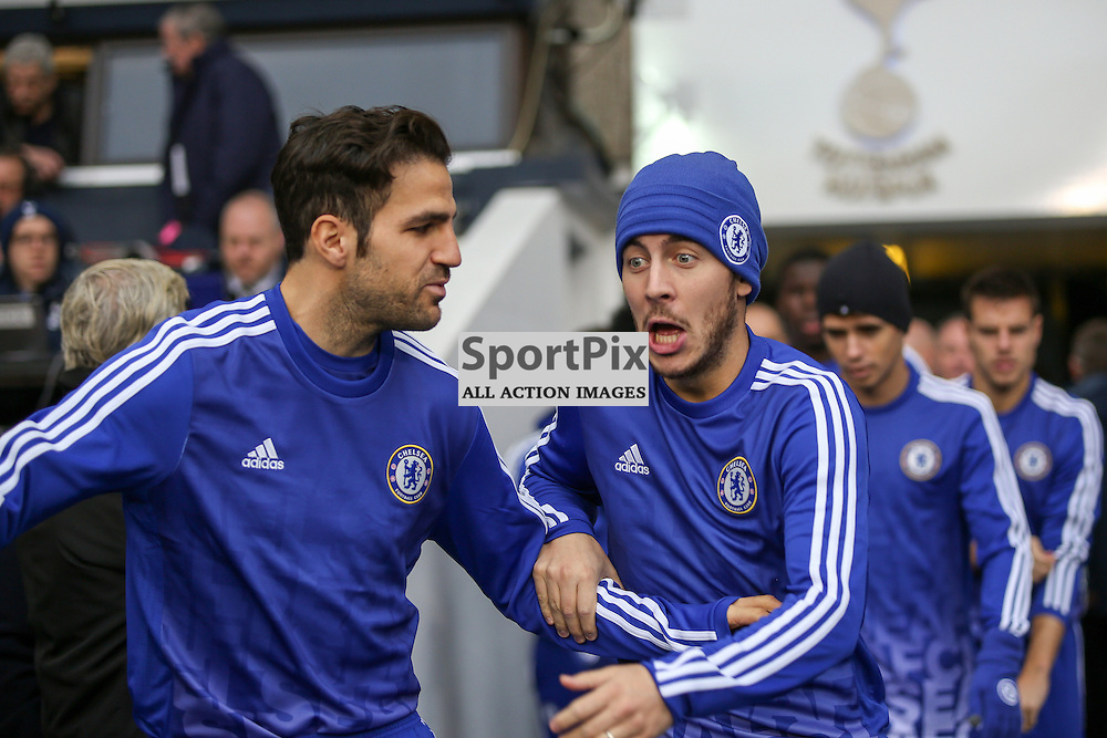 Cesc Fabregas, Eden Hazard joke before Tottenham Hotspur vs Chelsea on Sunday the 29th November 2015.
