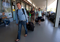 Primoz Kobe at arrival of team Slovenia at the end of European Athletics Championships Barcelona 2010 to Slovenia, on August 2, 2010 at Airport Joze Pucnik, Brnik, Slovenia. (Photo by Vid Ponikvar / Sportida)