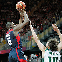 04 August 2012: USA Kevin Durant takes a jumpshot over Lithuania Simas Jasaitis during 99-94 Team USA victory over Team Lithuania, during the men's basketball preliminary, at the Basketball Arena, in London, Great Britain.