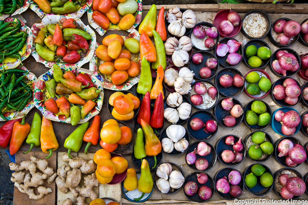 a selection of vegetables for sale in a Butuan City, Mindanao market. Mindanao, Philippines