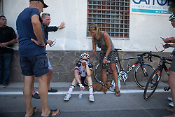 Sabrina Stultiens (NED) of Team Sunweb tries to cool down after a hot Stage 9 of the Giro Rosa - a 122.3 km road race, between Centola fraz. Palinuro and Polla on July 8, 2017, in Salerno, Italy. (Photo by Balint Hamvas/Velofocus.com)