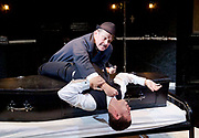 Loot <br /> by Joe Orton <br /> at Park Theatre, London, Great Britain <br /> press photocall <br /> 22nd August 2017 <br /> directed by Michael Fentiman <br /> <br /> <br /> Christopher Fulford as Truscott <br /> Calvin Demba as Dennis <br /> <br /> <br /> <br /> Photograph by Elliott Franks <br /> Image licensed to Elliott Franks Photography Services