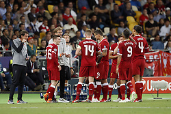 (L-R) Andy Robertson of Liverpool FC, coach Jurgen Klopp of Liverpool FC, Jordan Henderson of Liverpool FC, Dejan Lovren of Liverpool FC, Trent Alexander-Arnold of Liverpool FC, Roberto Firmino of Liverpool FC, Virgil van Dijk of Liverpool FC during the UEFA Champions League final between Real Madrid and Liverpool on May 26, 2018 at NSC Olimpiyskiy Stadium in Kyiv, Ukraine