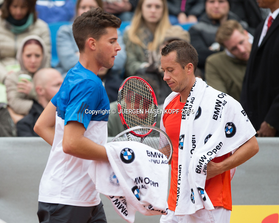 Dominic Thiem (AUT) und Philipp Kohlschreiber (GER) beim Seitenwechsel, Endspiel, Final<br /> <br /> Tennis - BMW Open2016 -  ATP  -  MTTC Iphitos - Munich - Bavaria - Germany  - 1 May 2016.