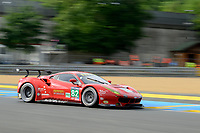 Giancarlo Fisichella (ITA) / Toni Vilander (FIN) / Matteo Malucelli (ITA) #82 RISI Competizone Ferrari 488 GTE,  during first practice for the Le Mans 24 Hr June 2016 at Circuit de la Sarthe, Le Mans, Pays de la Loire, France. June 15 2016. World Copyright Peter Taylor/PSP.