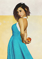 This charming fine art creation depicts a young woman with an apple. She is hiding the apple behind her back, leading us to wonder what she is up to. We look at her eyes. We study the way her brilliant blue dress seems to be in the middle of some sort of motion. She is a stunning young woman who is in complete control of her destiny. She is in good spirits. There is no question that whoever is with her is probably in good spirits, as well. This is a scene that can take you back to the prime moments of your youth.<br />