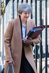 Downing Street, London, April 19th 2017. British Prime Minister Theresa May leaves 10 Downing Street for the House of Commons for Prime Minister's Questions and to secure a vote to hold the June 8th General Election.