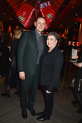 28 January 2020 - Caroline Quentin and Sam Farmer at the Costa Book Awards 2019 held at Quaglino's, 16 Bury Street, London.<br /> <br /> Photo by Dominic O'Neill/Desmond O'Neill Features Ltd.  +44(0)1306 731608  www.donfeatures.com