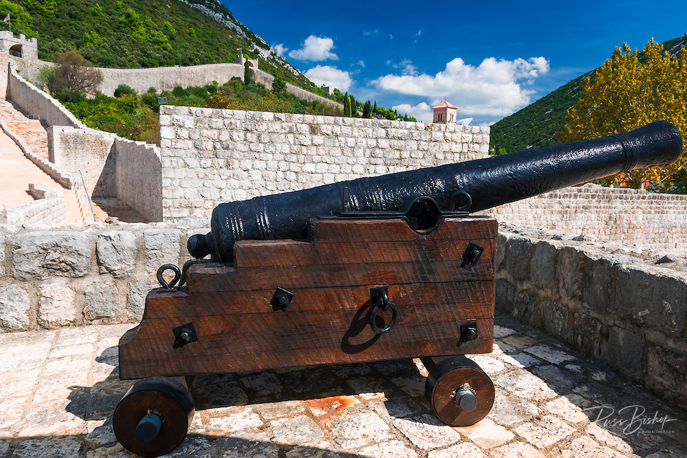Cannon on the Great Wall, Ston, Dalmatian Coast, Croatia