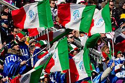 Fans of Italy during 2nd Run of Men's Slalom of FIS Ski World Cup Alpine Kranjska Gora, on March 6, 2011 in Vitranc/Podkoren, Kranjska Gora, Slovenia.  (Photo By Vid Ponikvar / Sportida.com)