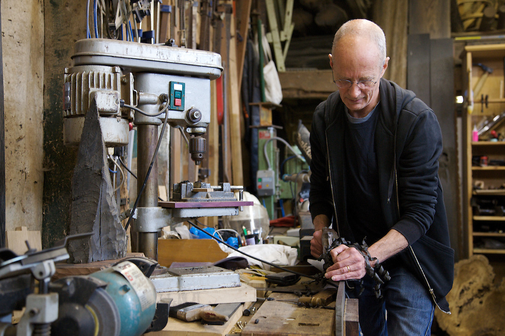Furniture maker Adrian Swintead working in his Maulden Woods studio, Bedfordshire<br /> CREDIT: Vanessa Berberian for The Wall Street Journal<br /> GURU-SWINSTEAD
