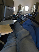 On board a Vietnam Airlines from from Nagoya Japan to Saigon Vietnam.