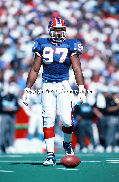 Buffalo Bills linebacker Cornelius Bennett (97) looks on during the NFL football game against the Carolina Panthers on Sept. 10, 1995 in Orchard Park, N.Y. The Bills won the game 31-9. (©Paul Anthony Spinelli)