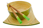 green bamboo bowl and chopsticks