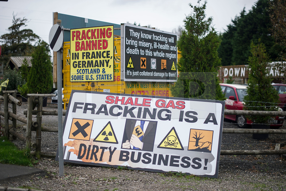 © Licensed to London News Pictures. 09/10/2017. Lancashire, UK.  An anti-fracking banner near the demonstration on Preston New Road Lancashire at the entrance to Cuadrillas Hydraulic fracking site. The demo  brought together activists from Greenpeace, The Green Party and the local community to protest against the drilling taking place at the site.  Photo credit: Steven Speed/LNP