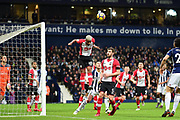 Southampton midfielder Mario Lamina (18) heads the ball during the Premier League match between West Bromwich Albion and Southampton at The Hawthorns, West Bromwich, England on 3 February 2018. Picture by Dennis Goodwin.