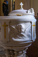 Baptismal basin in Catholic church, Washington D.C., USA.
