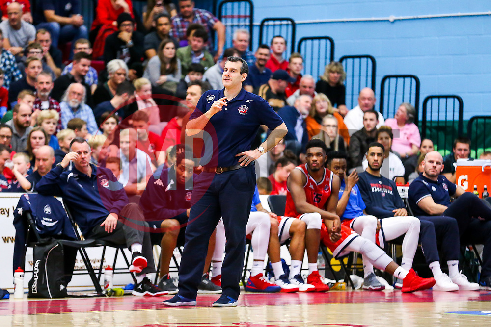 Head Coach Andreas Kapoulas of Bristol Flyers looks frustrated - Rogan/JMP - 16/11/2018 - BASKETBALL - SGS WISE Arena - Bristol, England - Bristol Flyers v Leicester Riders - BBL Championship.