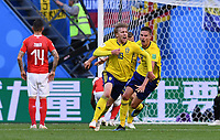 FUSSBALL WM 2018 Achtelfinale ------ Schweden - Schweiz 03.07.2018 Emil Forsberg (Schweden) bejubelt seinen Treffer zum 1:0 *** FIFA World Cup 2018 Eighth finals Sweden Switzerland 03 07 2018 Emil Forsberg Sweden celebrates his 1 0 0 goal PUBLICATIONxNOTxINxAUTxSUIxITA