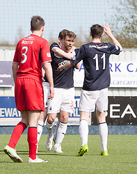 Falkirk's Rory Loy celebrates after scoring their first goal.<br /> Falkirk 2 v 1 Raith Rovers, Scottish Championship game played today at The Falkirk Stadium.<br /> &copy; Michael Schofield.