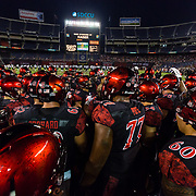22 September 2018: San Diego State Aztecs linebacker Ronley Lakalaka (39) pumps the team up prior to taking on Eastern Michigan. The San Diego State Aztecs beat the Eastern Michigan Eagles 23-20 in over time at SDCCU Stadium in San Diego, California.