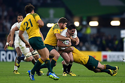 Brad Barritt of England is tackled in possession - Mandatory byline: Patrick Khachfe/JMP - 07966 386802 - 03/10/2015 - RUGBY UNION - Twickenham Stadium - London, England - England v Australia - Rugby World Cup 2015 Pool A.