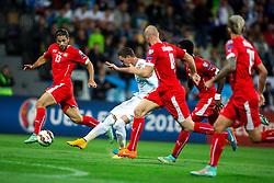 Milivoje Novakovic of Slovenia shoots during football match between National teams of Slovenia and Switzerland at Round 2 of Euro 2016 Qualifications, on October 9, 2014 in Stadium Ljudski vrt, Maribor, Slovenia. Photo by Matic Klansek Velej / Sportida.com