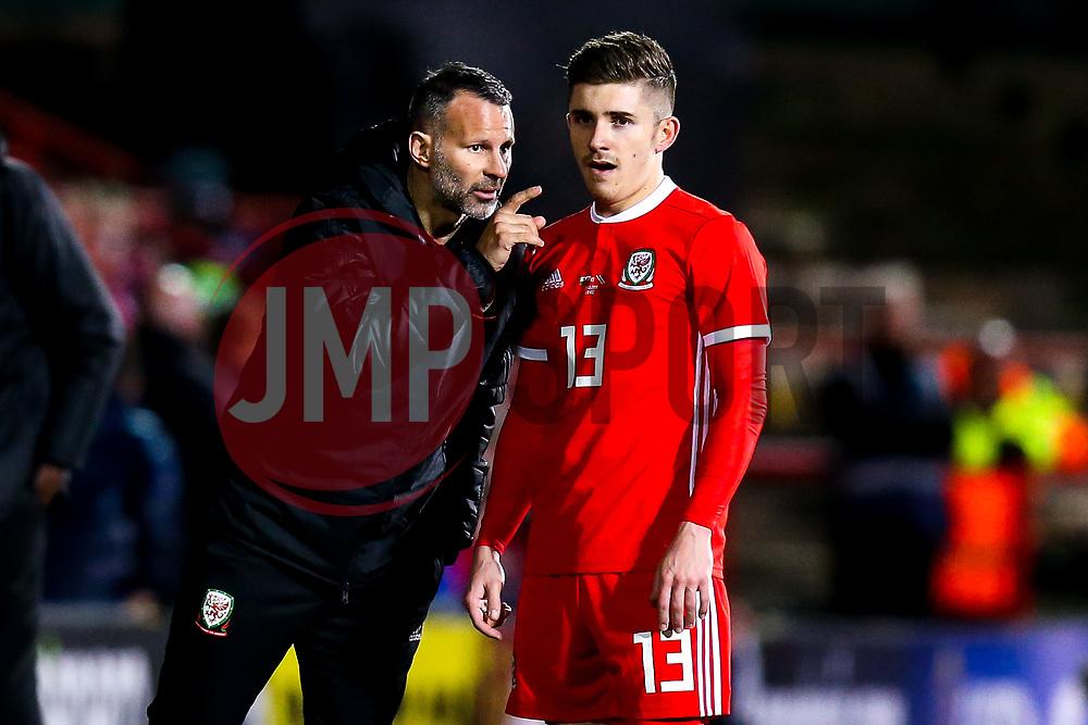 Wales head coach Ryan Giggs speaks to Declan John of Wales - Mandatory by-line: Robbie Stephenson/JMP - 20/03/2019 - FOOTBALL - The Racecourse Ground - Wrexham, United Kingdom - Wales v Trinidad and Tobago - International Challenge Match