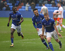 Eoin Doyle of Oldham Athletic (R) celebrates scoring his sides second goal - Mandatory by-line: Jack Phillips/JMP - 02/04/2018 - FOOTBALL - Sportsdirect.com Park - Oldham, England - Oldham Athletic v Blackpool - Football League One