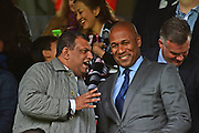 Chairman of QPR Tony Fernandez shares a joke with Les Ferdinand before the EFL Sky Bet Championship match between Fulham and Queens Park Rangers at Craven Cottage, London, England on 1 October 2016. Photo by Jon Bromley.