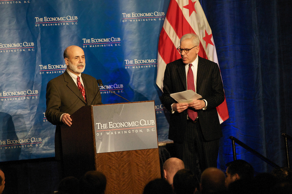 Chairman of the Federal Reserve, Ben Bernanke addresses the Economic Club of Washington at the Capitol Hilton in Washington DC