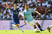 Manchester City Midfielder Bernardo Silva (20) and Chelsea Midfielder Jorginho (5) battle for the ball during the FA Community Shield match between Chelsea and Manchester City at Wembley Stadium, London, England on 5 August 2018. Picture by Stephen Wright.
