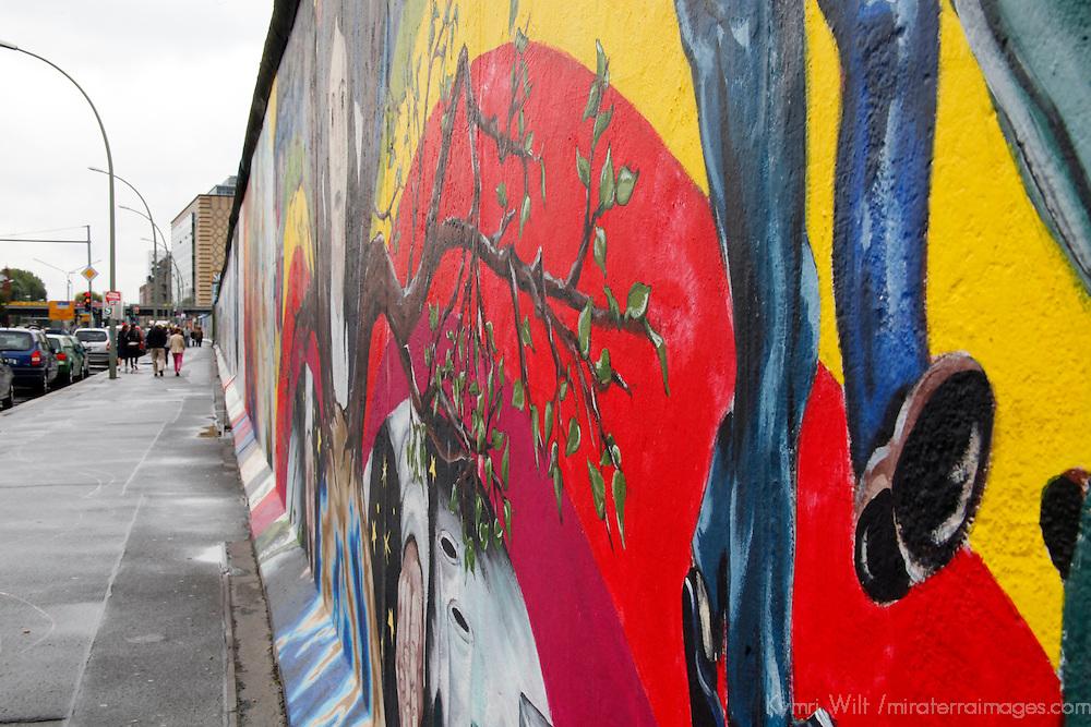Europe, Germany, Berlin. Mural of the Berlin Wall.