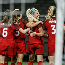Oct 19, 2017; New Orleans, LA, USA; USA defender Julie Ertz (8) celebrates with teammates after a goal against Korea Republic during the first half of an International Friendly Women's Soccer match at the Mercedes-Benz Superdome. Mandatory Credit: Derick E. Hingle-USA TODAY Sports