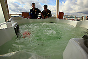 Outdoor jacuzzi in one of the luxury suites onboard the cruise ship Oasis of the Seas. The ship, currently the largest in the world, is owned by Royal Carribean Cruise Line.