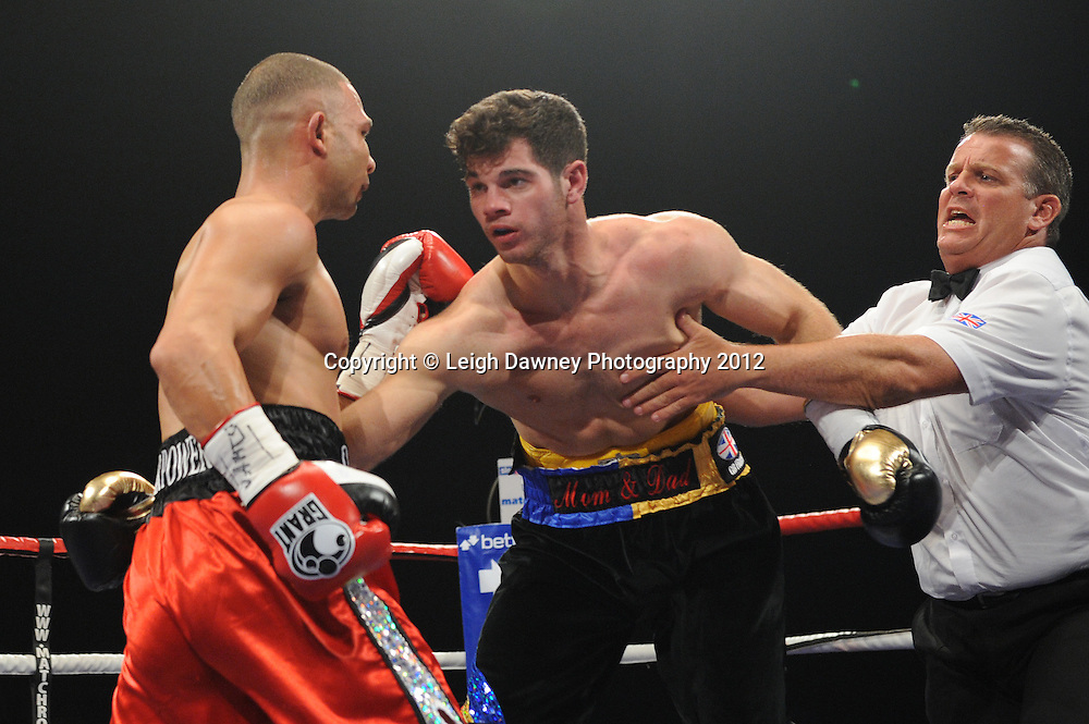 Curtis Valentine defeats Ryan Aston for the Vacant BBBofC Midlands Middleweight Title at the Motorpoint Arena, Sheffield, United Kingdom on the 7th July 2012. Promoted by Matchroom Sport. ©Leigh Dawney Photography 2012.