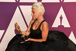 """Lady Gaga, winner of the Best Original Song Award for """"Shallow"""" in """"A Star Is Born"""" at the 91st Annual Academy Awards (Oscars) presented by the Academy of Motion Picture Arts and Sciences.<br /> (Hollywood, CA, USA)"""
