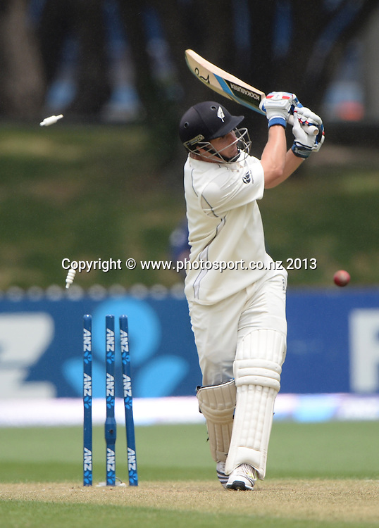 BJ Watling is bowled on Day 2 of the 2nd cricket test match of the ANZ Test Series. New Zealand Black Caps v West Indies at The Basin Reserve in Wellington. Thursday 12 December 2013. Mandatory Photo Credit: Andrew Cornaga www.Photosport.co.nz