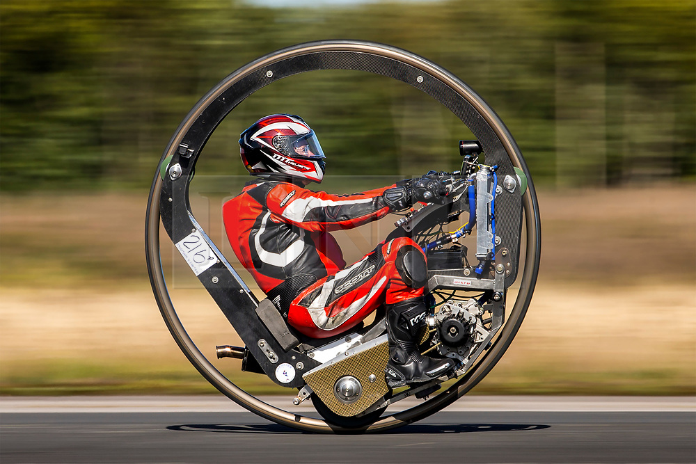 © Licensed to London News Pictures. 21/09/2019. York, UK. Mark Foster is attempting to break the world record for the fastest Monowheel motorcycle at the Straightliners speed event being held at Elvington airfield in Yorkshire today. Photo credit: Andrew McCaren/LNP