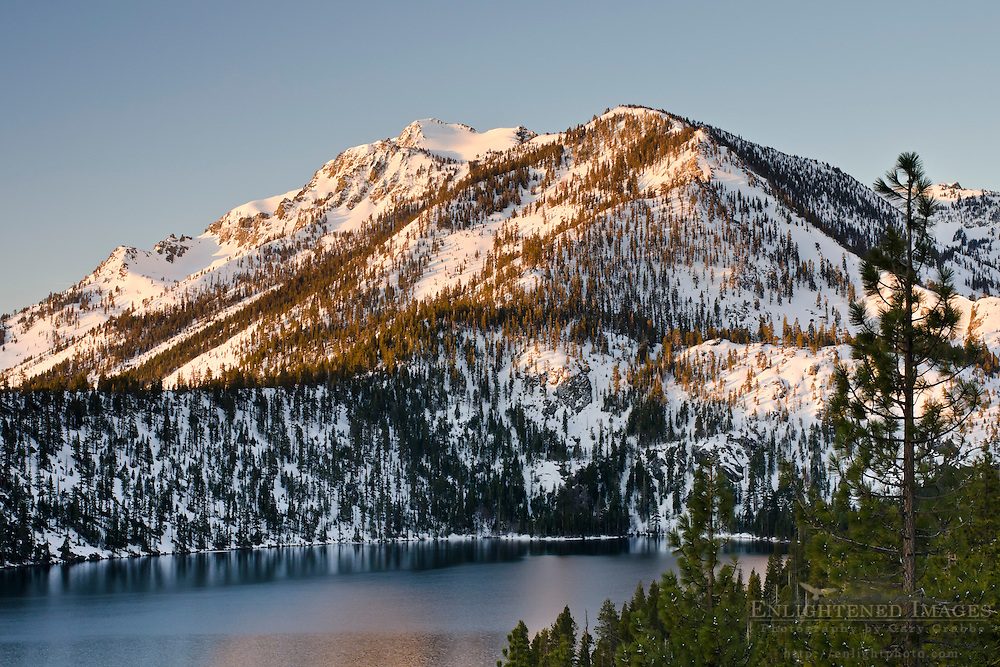 Mount Tallac in winter above Cascade Lake, near South Lake Tahoe, California