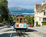 Tourists on a Cable Car on Hyde at San Francisco