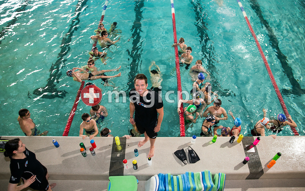 SCUW's swimmer Dominik MEICHTRY of Switzerland is holding a swim clinic for young team fellows of SchwimmClub Uster Wallisellen at the Water-World pool in Wallisellen, Switzerland, Thursday, March 21, 2013. (Photo by Patrick B. Kraemer / MAGICPBK)