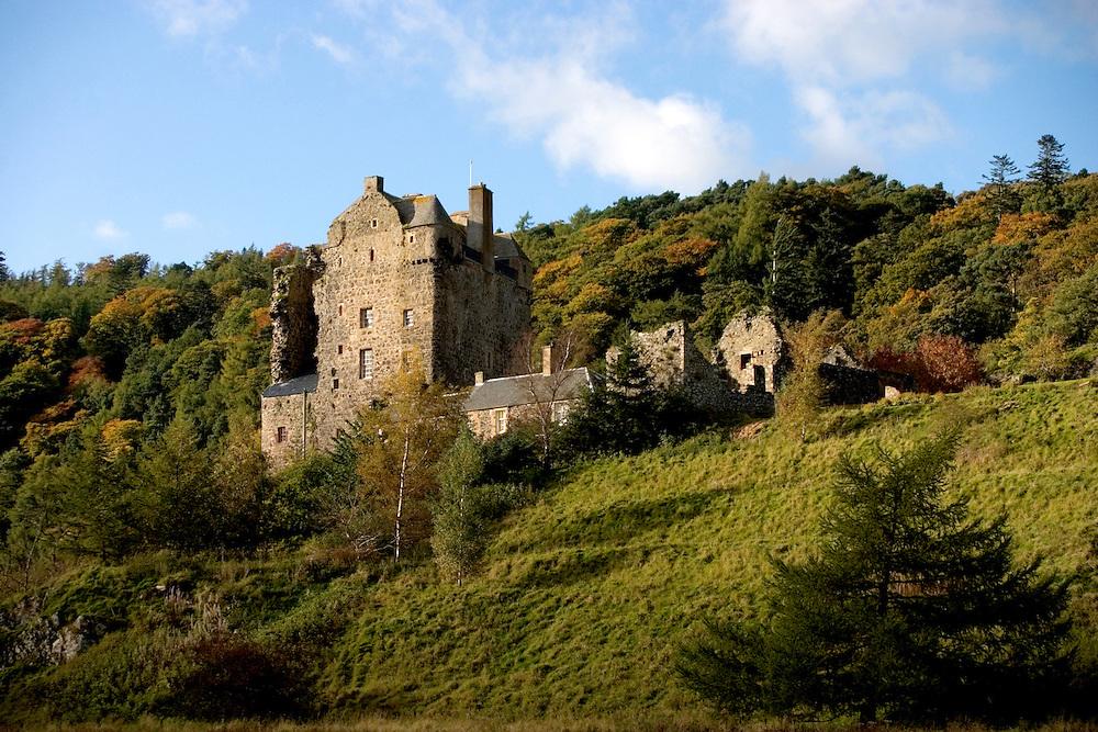 Neidpath Castle near Peebles, Scottish Borders in the Autumn