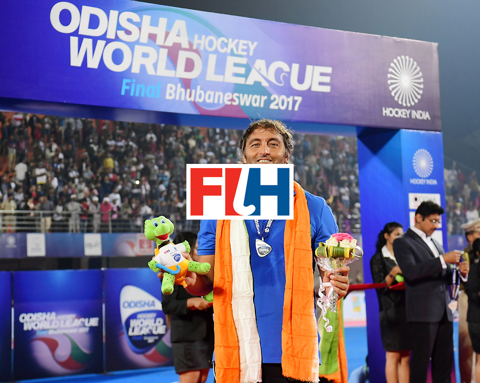 Odisha Men's Hockey World League Final Bhubaneswar 2017<br /> Match id:<br /> Ceremony<br /> Foto: coach Carlos Retegui (Arg) <br /> COPYRIGHT WORLDSPORTPICS FRANK UIJLENBROEK