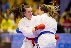 Maja Lenard of Croatia (red) fighting against her twin sister Ana Lenard of Croatia (blue) during final of Kumite Individual female Seniors -61 kg at Day One of Karate 1 World Cup - Thermana Slovenia Lasko 2014 tournament, on March 15, 2014 in Arena Tri Lilije, Lasko, Slovenia.Photo by Vid Ponikvar / Sportida