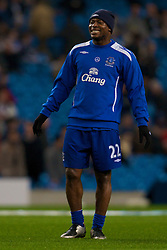 MANCHESTER, ENGLAND - Monday, February 25, 2008: Everton's Yakubu Ayegbeni before the Premiership match at the City of Manchester Stadium. (Photo by David Rawcliffe/Propaganda)