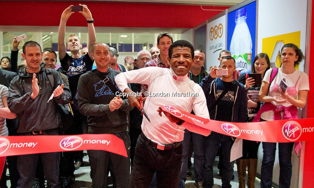 Distance running legend Haile Gebrselassie of Ethiopia prepares for his job as pacemaker for Sunday's Virgin Money London Marathon. <br /> <br /> Haile Gebrselassie opening the official race Expo at the ExCeL centre London.<br /> <br /> Wednesday 9th of April 2014<br /> <br /> Free usage no reproduction fee<br /> <br /> Pool Publicity picture, distributed by London Marathon<br /> <br /> Excel Exhibition Centre<br /> The Virgin Money London Marathon 2014<br /> 09 April 2014. <br /> <br /> Photo: Tom Lovelock/Virgin Money London Marathonmedia@london-marathon.co.uk
