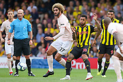 Manchester United Midfielder Marouane Fellaini battles with Watford forward Andre Gray (18) during the Premier League match between Watford and Manchester United at Vicarage Road, Watford, England on 15 September 2018.